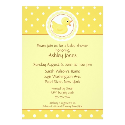 yellow ducky baby shower invitations
