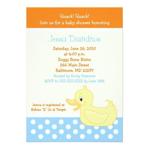 yellow ducky duck baby shower invitation