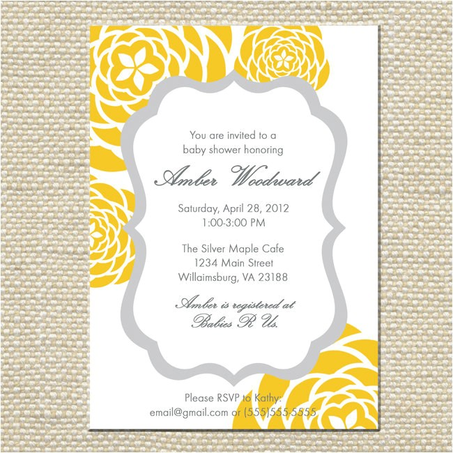 yellow and gray grey baby shower