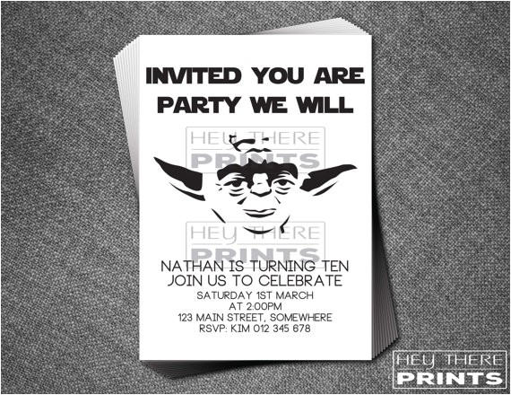yoda birthday invitations star wars