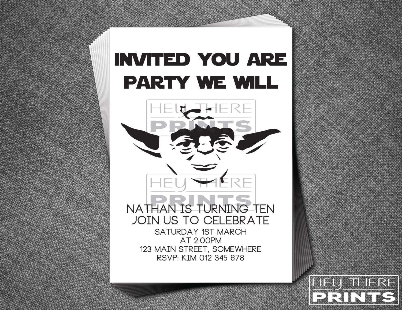 yoda birthday invitations star wars