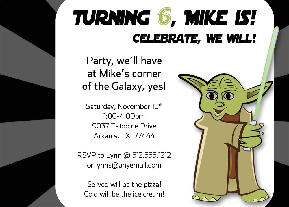 yoda inspired birthday party invitation