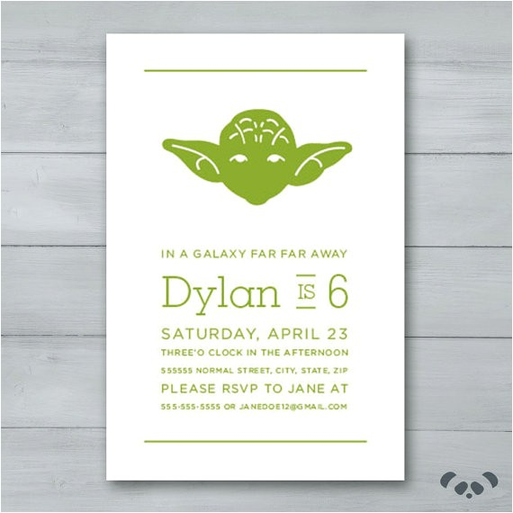 yoda star wars birthday party invitation