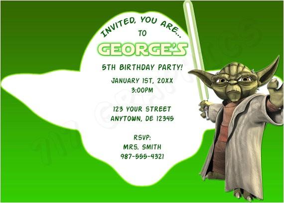 star wars yoda birthday invitation