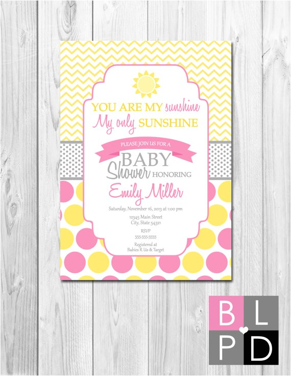 sunshine baby shower invitation yellow pink