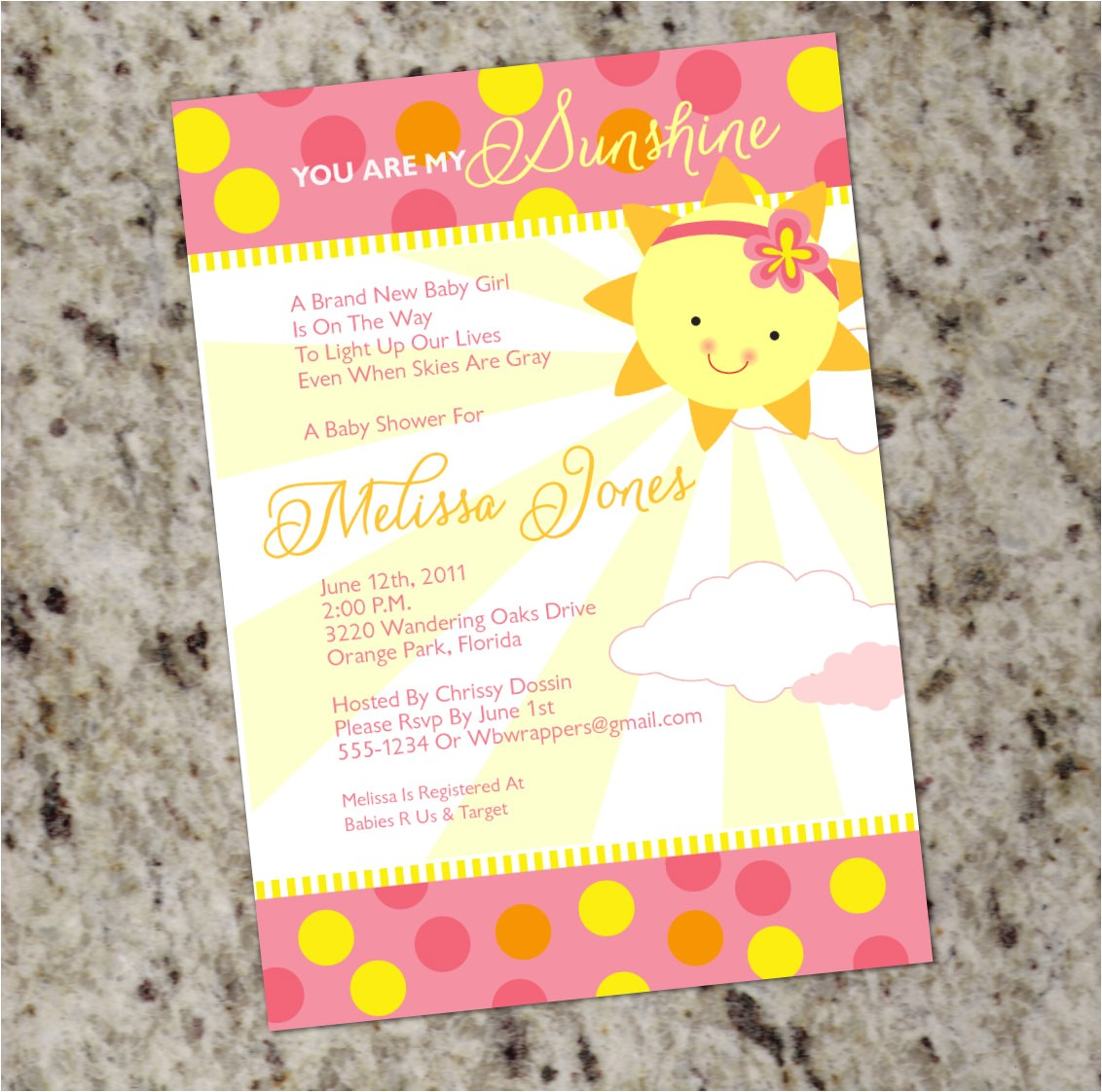 You are My Sunshine Baby Shower Invites You are My Sunshine Baby Shower Invitations Girly Summer