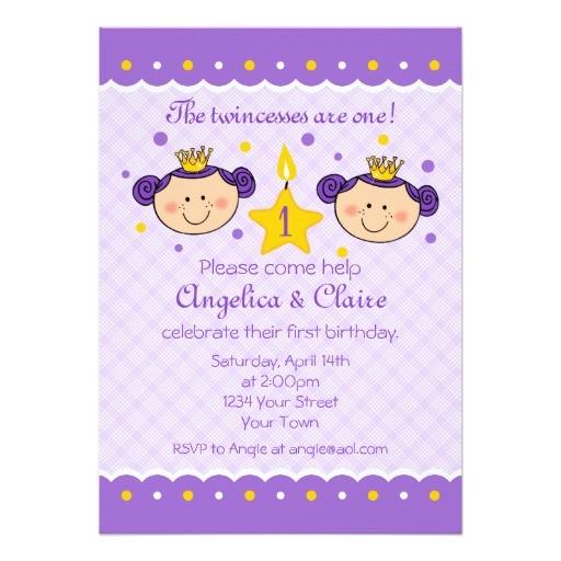 Zazzle 1st Birthday Invitations 1st Birthday Twincess Party Invitation Zazzle