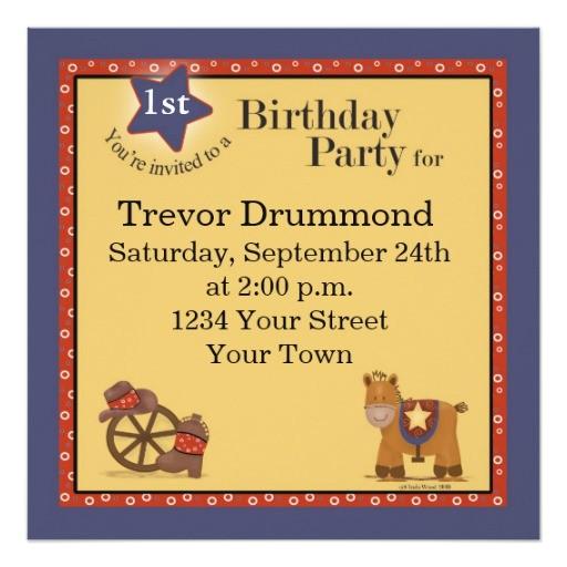 cowboy 1st birthday invitation 161792041945123216
