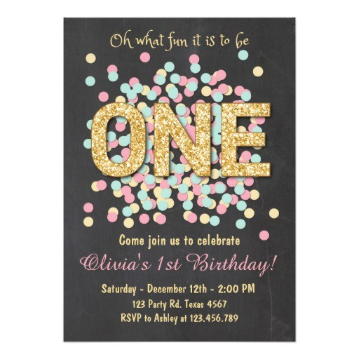 first birthday invitation girl pink gold mint 256656051918893775