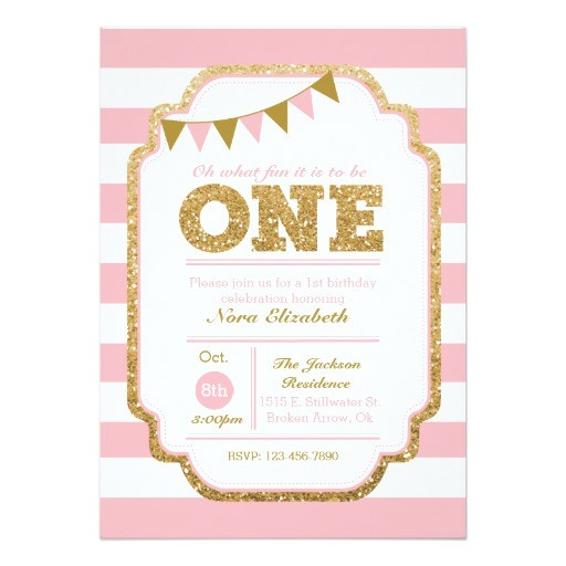 pink and gold first birthday invitation 256728940938141227