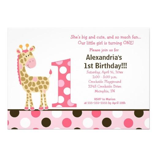pink jungle giraffe 1st birthday invitation 5x7 161873042198053542