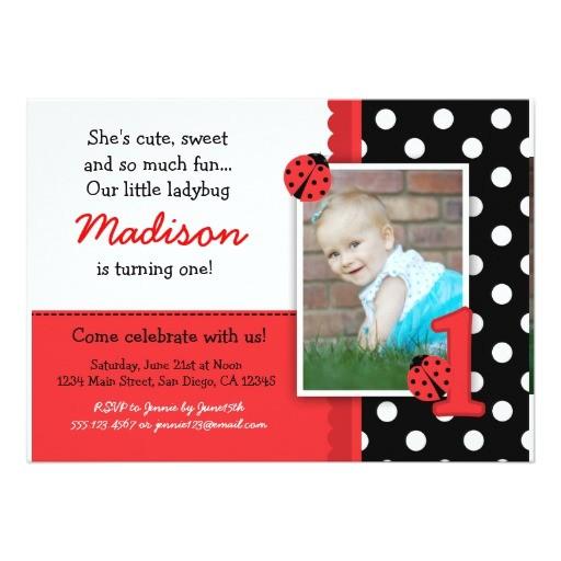 red ladybug 1st birthday invitations 161966118224909452