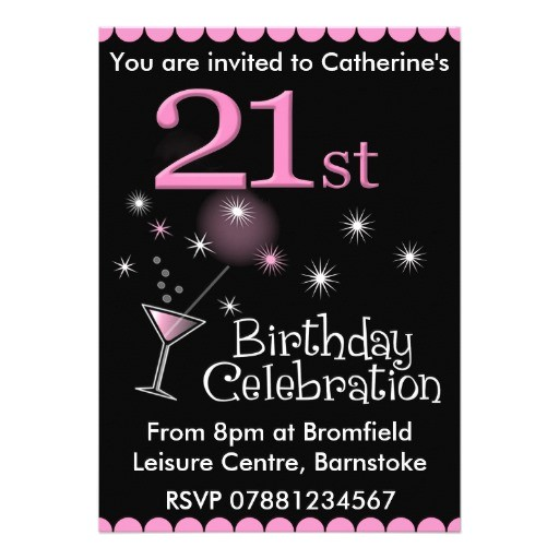 21st birthday party invitation cocktail glass