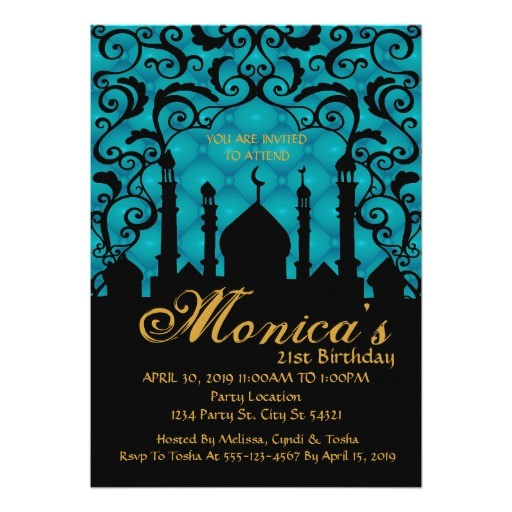 arabian nights 21st birthday invitations