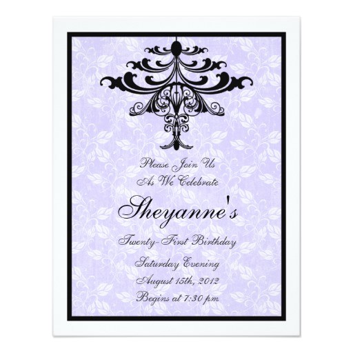 chandelier purple 21st birthday party invitation