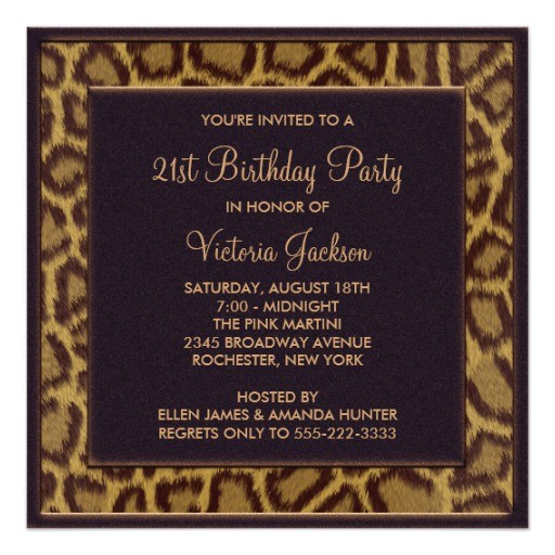 leopard 21st birthday party invitation
