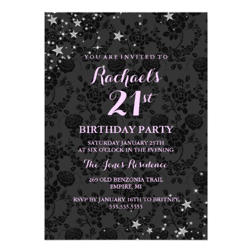 sparkle stars 21st birthday invitation