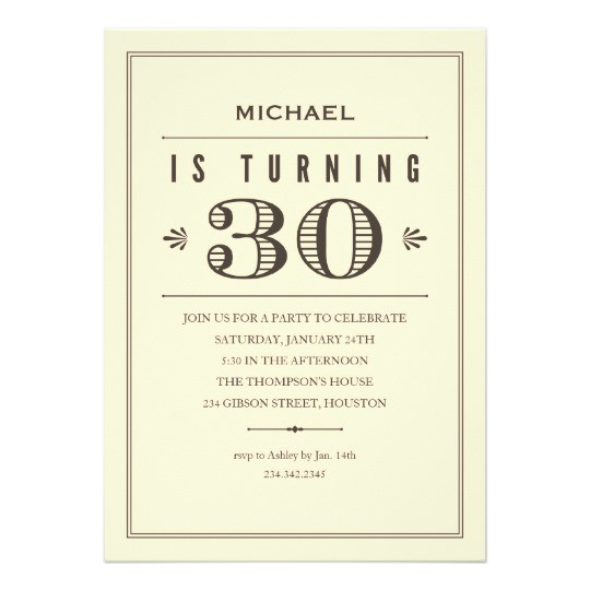 30th birthday invitations for men