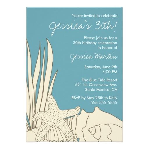 30th birthday party invitation with beach theme