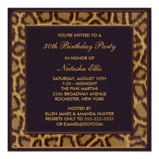 leopard 30th birthday party invitations