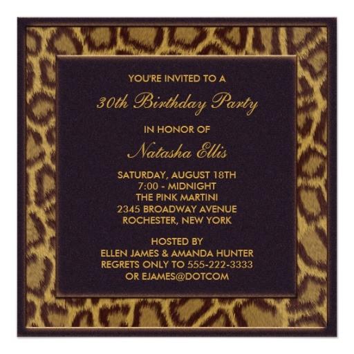 leopard 30th birthday party invitations