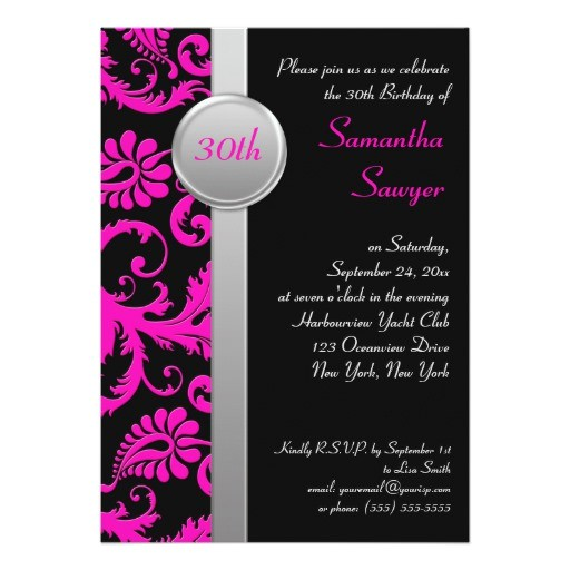 pink black and silver 30th birthday invitation