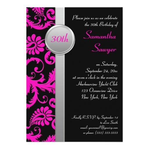 pink black and silver 30th birthday invitation