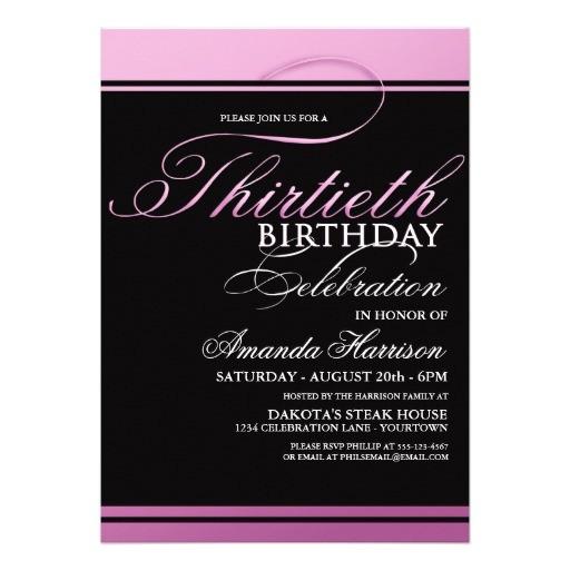 pink formal 30th birthday invitations