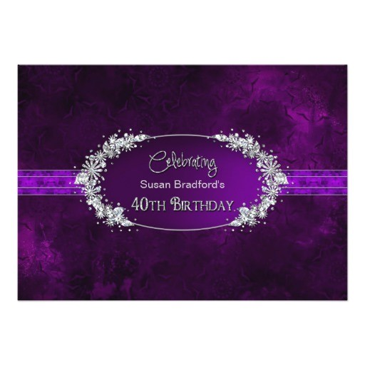 40th birthday party invitation purple gems