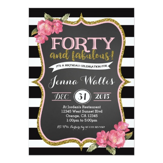 Zazzle 40th Birthday Invitations 40th forty & Fabulous Birthday Invitation