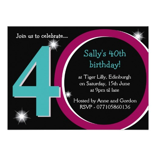 bold pink teal fortieth 40th birthday party invitation