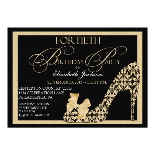 elegant 40th birthday damask shoe invitation