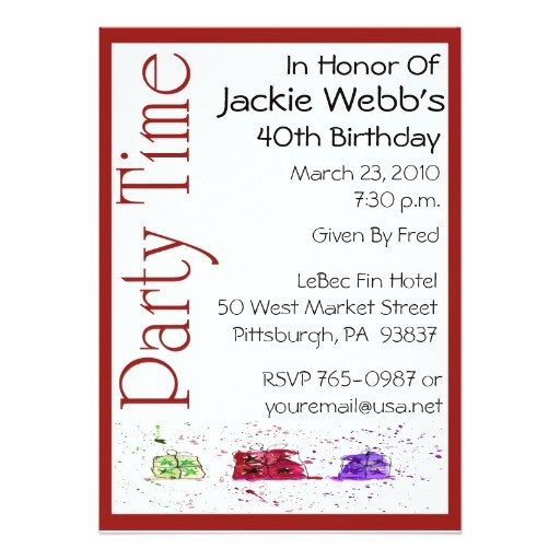 personalized 40th birthday party invitation