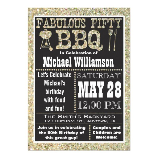 bbq 50th birthday party invitation
