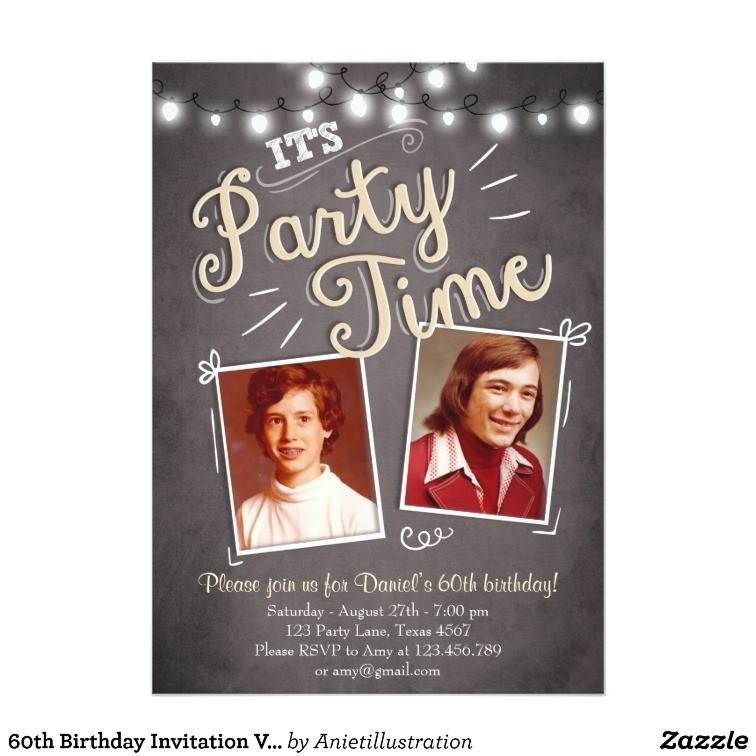 60th birthday invitation vintage sixty birthday