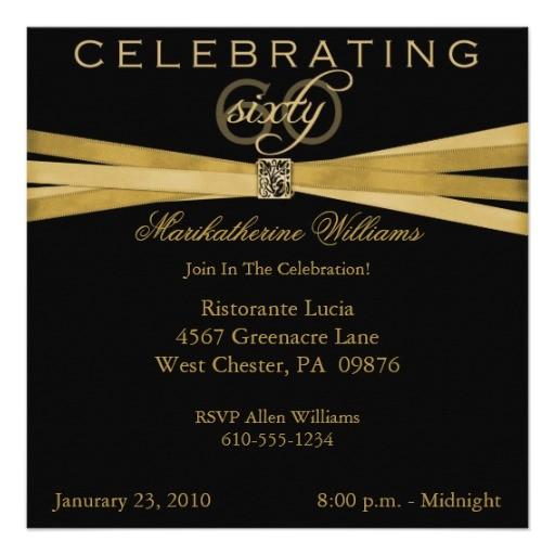 black gold 60th birthday party invitations