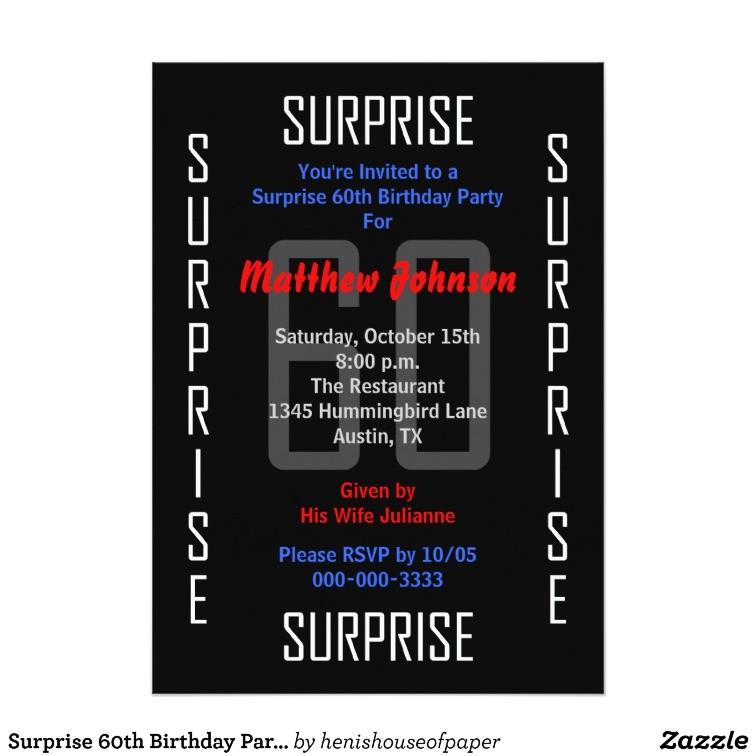 surprise 60th birthday party invitation 60