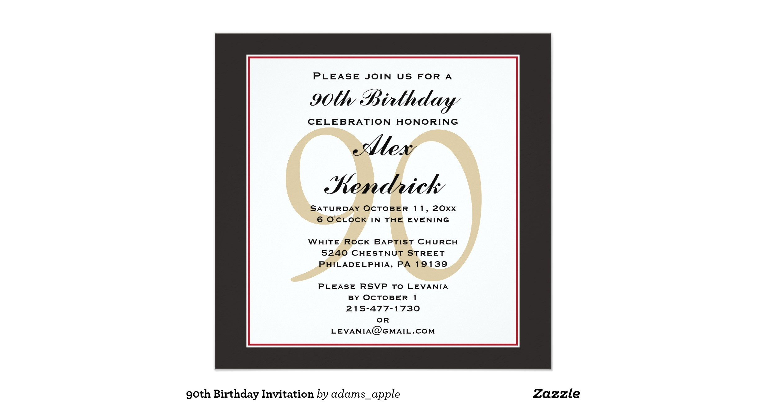 90th birthday invitation