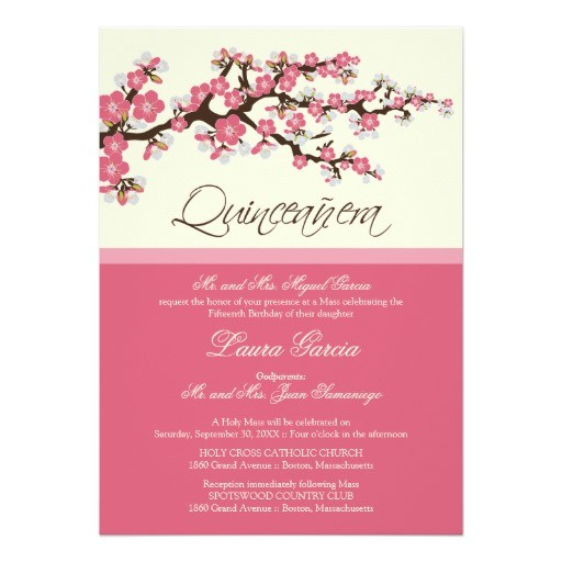 cherry blossom quinceanera invitation pink 161300838120397151