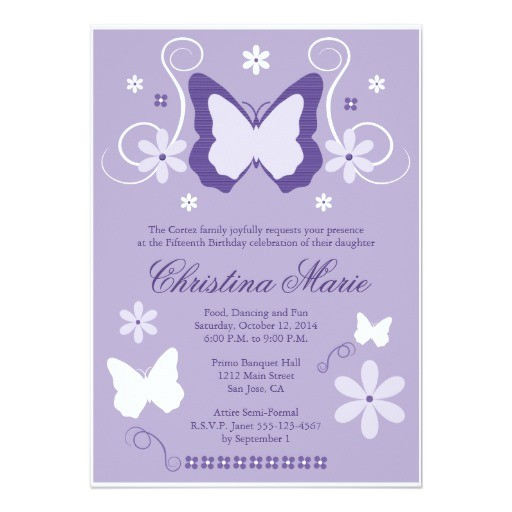 purple butterfly quinceanera invitations 161905347832009415
