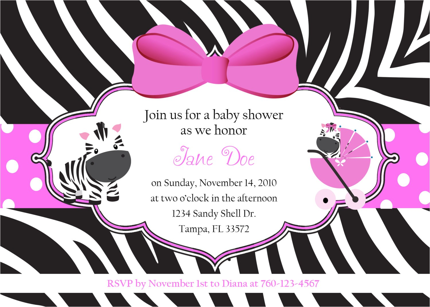 zebra baby shower invitations