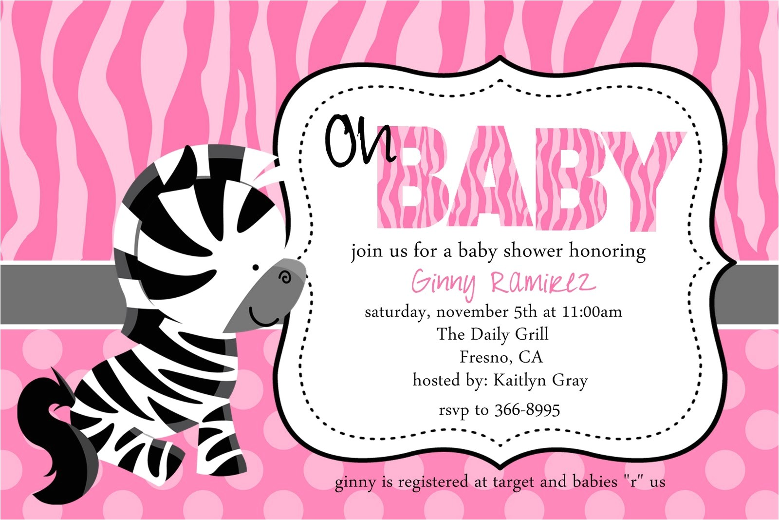 zebra baby shower invitations template