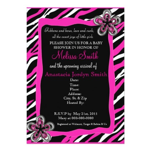 zebra print baby shower invitation hot pink