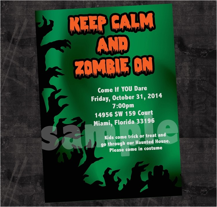 Zombie Halloween Invitations Printable or Printed p 3286