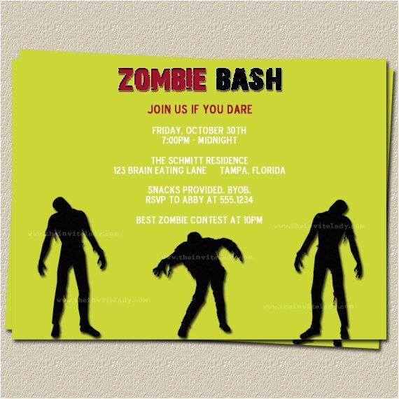 zombie party invitation wording