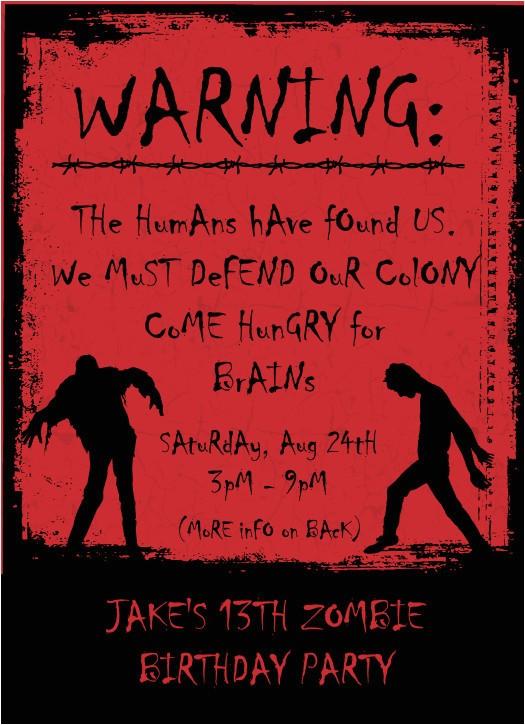 zombie party invitations