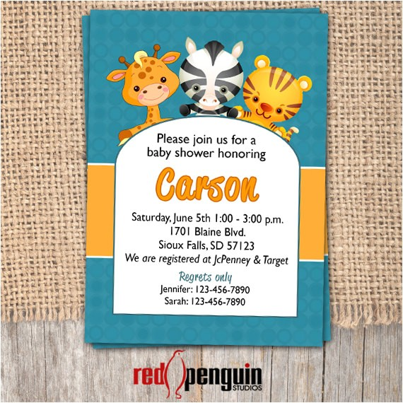baby shower invitation zoo themed