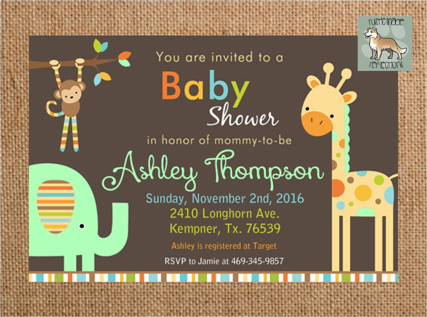 zoo themed baby shower invitation with
