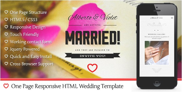 responsive html5 wedding templates