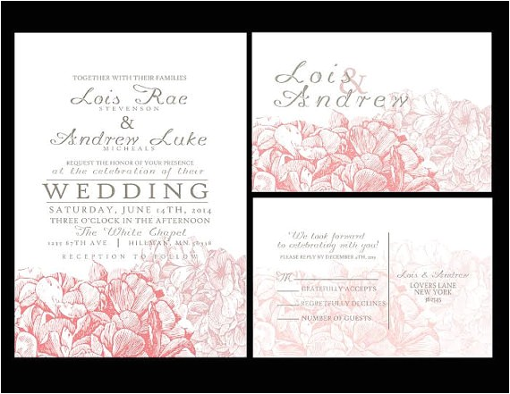 100 sets personalized wedding invitations slash fully customized to your wedding hydrangea invite